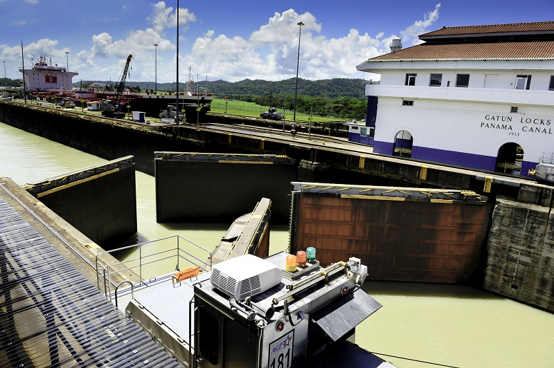 The gates closing at Gatun Locks Panama Canal