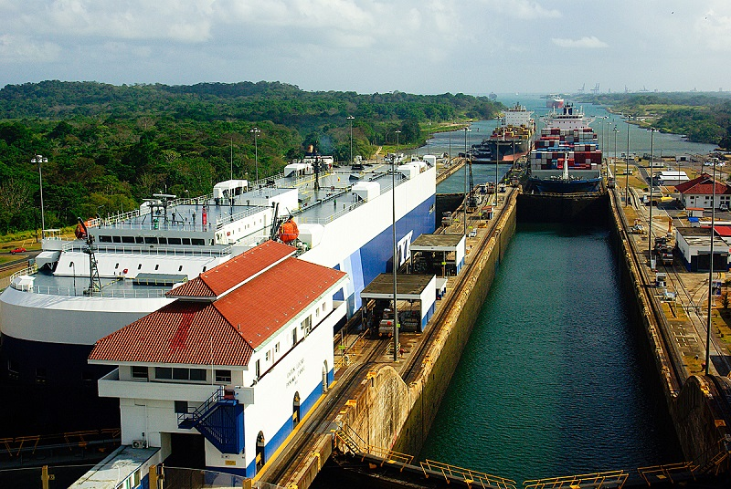 Ships make the transit through the Gatun Locks from the Atlantic side heading to the Pacific Ocean side.