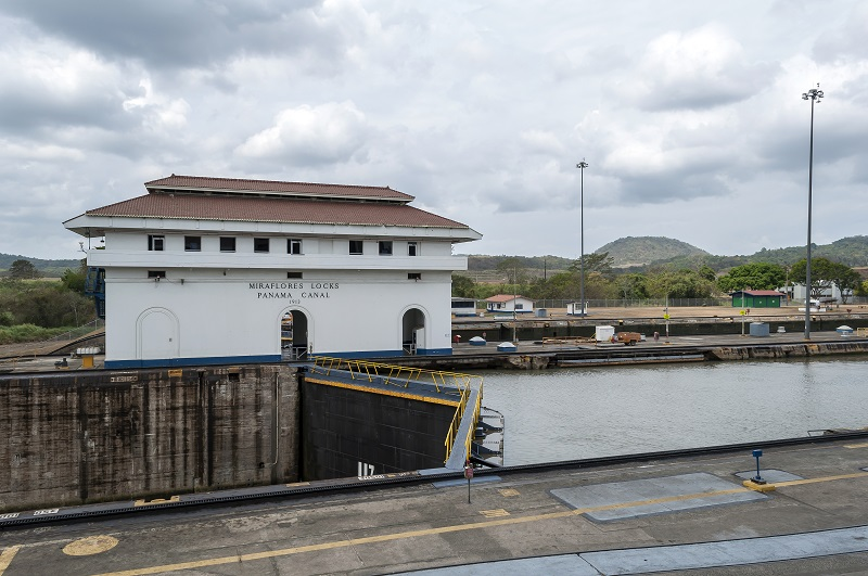 The Miraflores locks at the Panama Canal in Panama.
