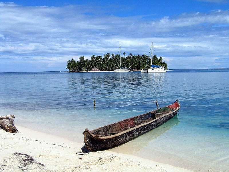Looking back to the little island of Chichime in the San Blas.